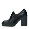 Zwarte leren loafers met hak
