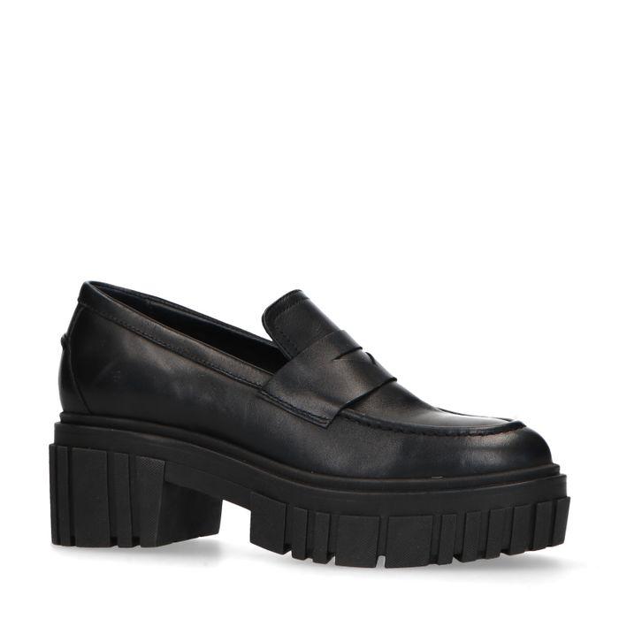 Zwarte leren chunky loafers