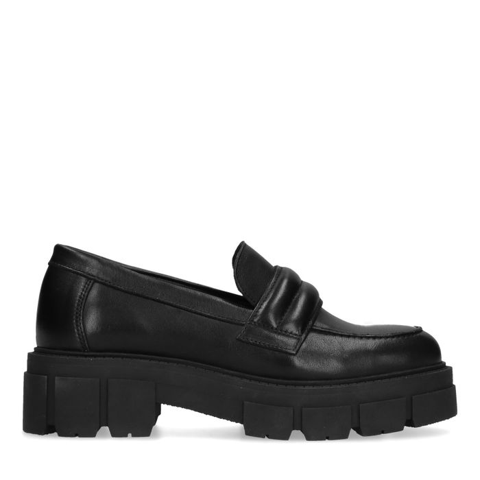 Zwarte loafers met chunky zool