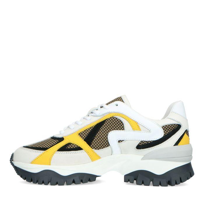 Witte sneakers met gele details
