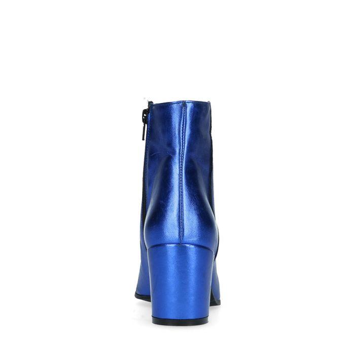 Metallic blauwe enkellaarsjes met hak