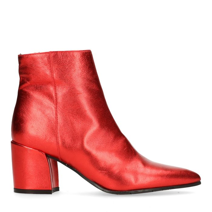 Rode metallic enkellaarsjes met hak
