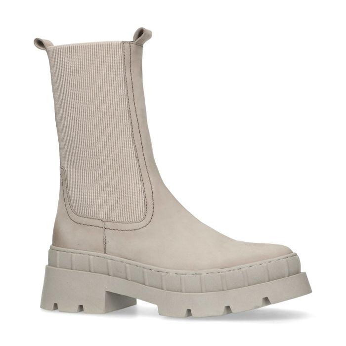 Beige nubuck chelsea boots met chunky zool