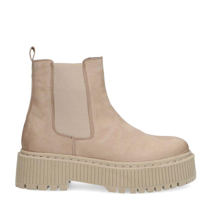 Beige nubuck chelsea boots