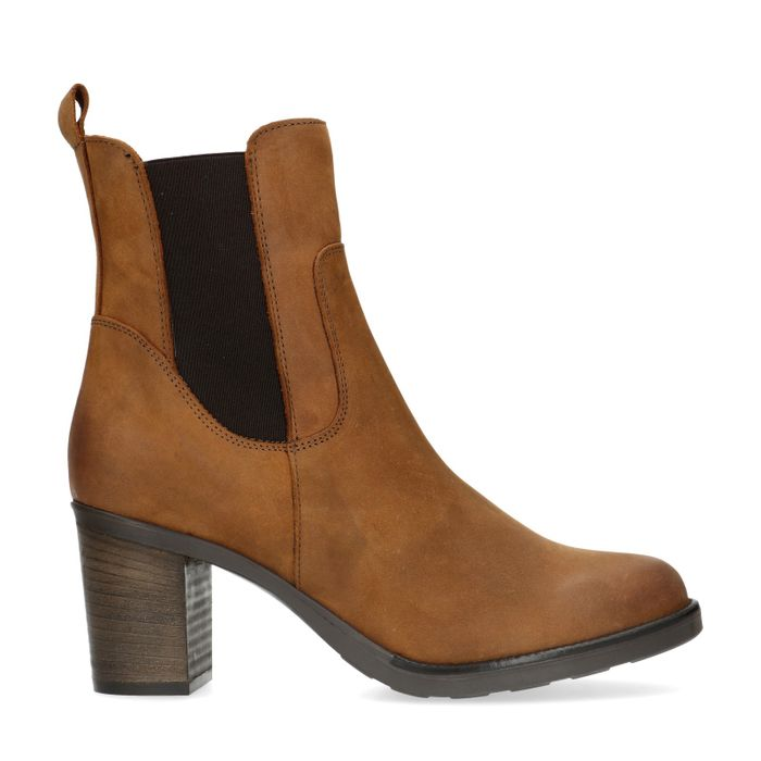 Cognac nubuck chelsea boots met blokhak
