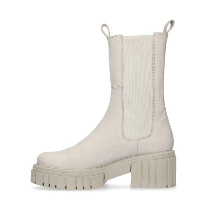 Off white nubuck chelsea boots met plateauzool