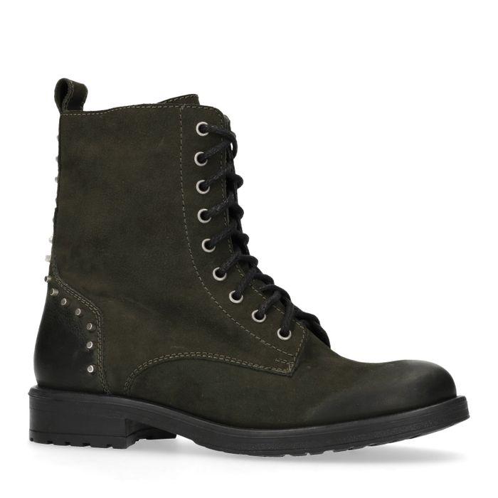 Donkergroene biker boots met studs