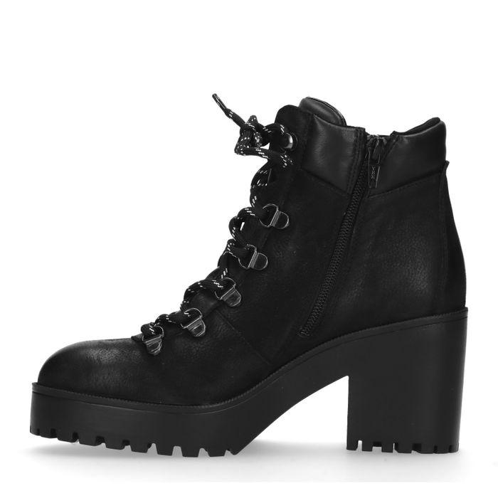 Zwarte hiker boots met blokhak