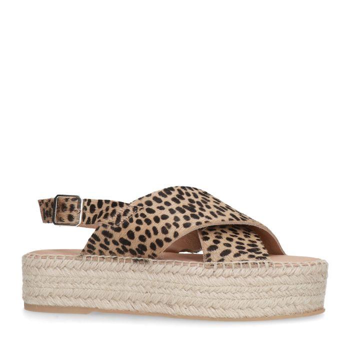 Cheetahprint sandalen met plateau