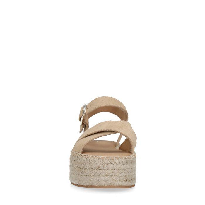 Beige plateau sandalen