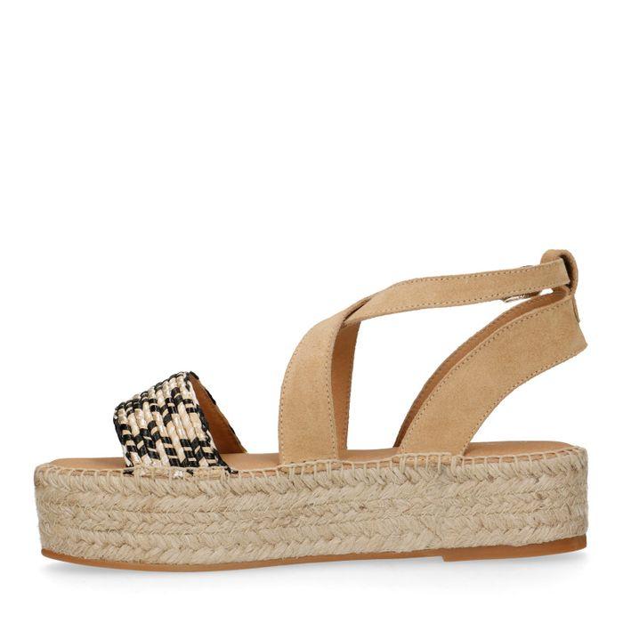 Beige plateau sandalen met touw