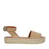 Beige suède plateau sandalen