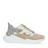 Beige sneakers met metallic details