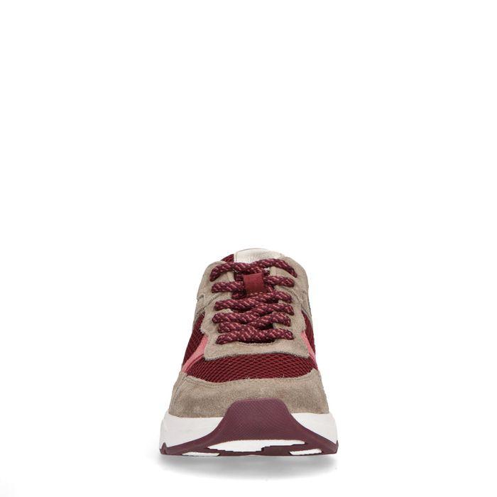 Beige sneakers met donkerroze details