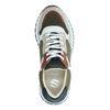 Beige suède sneakers met bruine details