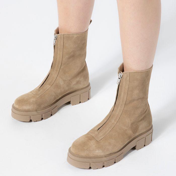 Beige suède chelsea boots met rits