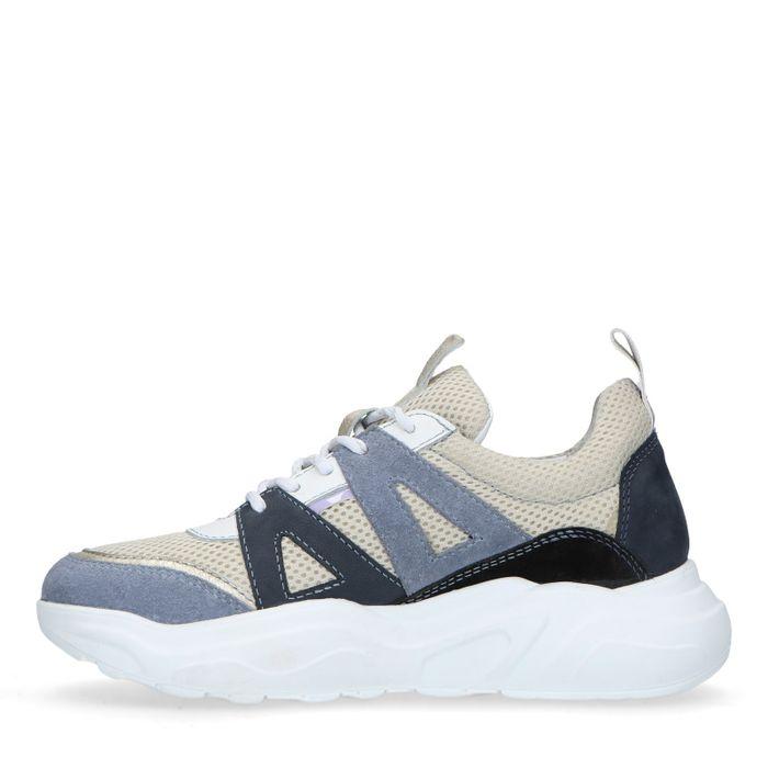 Blauwe suède dad sneakers met gekleurde details