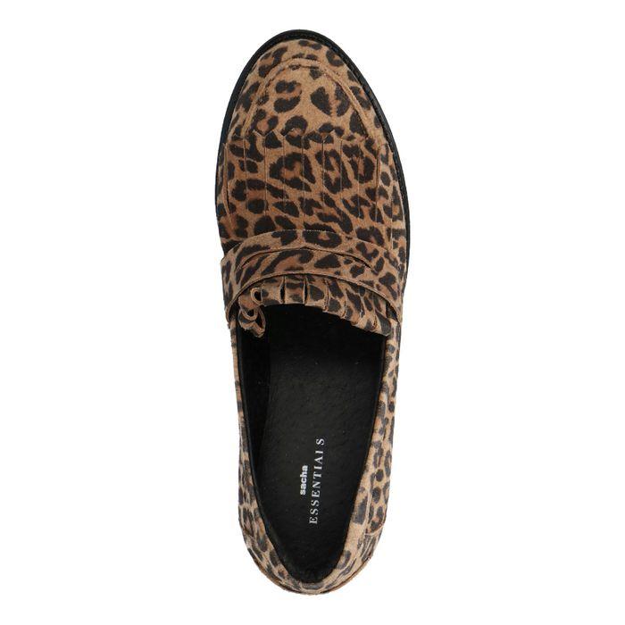Bruine loafers met panterprint en jamboreeklep