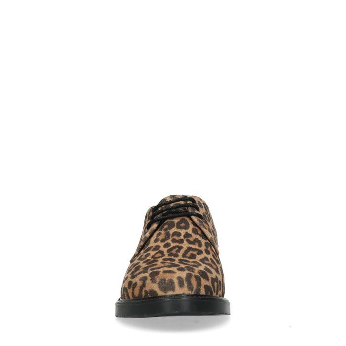 Bruine veterschoenen met panterprint
