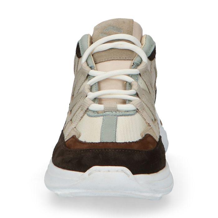 Donkerbruine dad sneakers met blauwe details