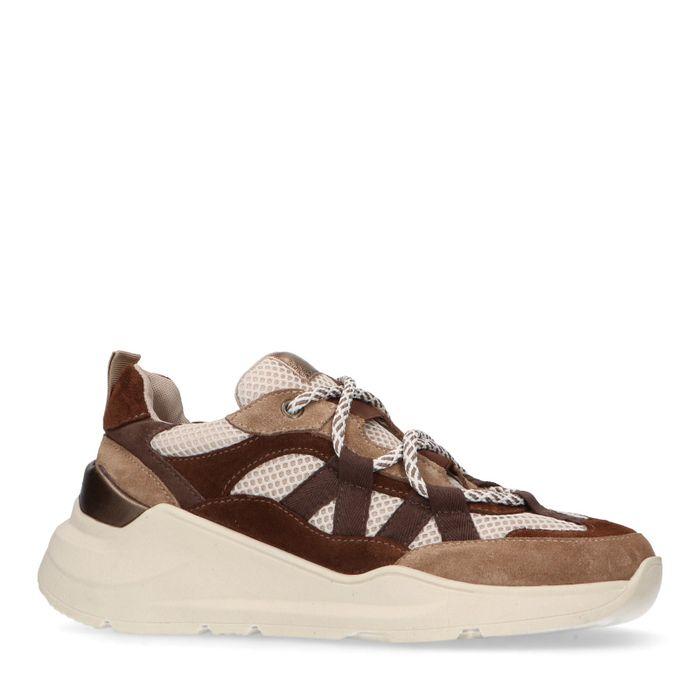 Camel dad sneakers met bruine details