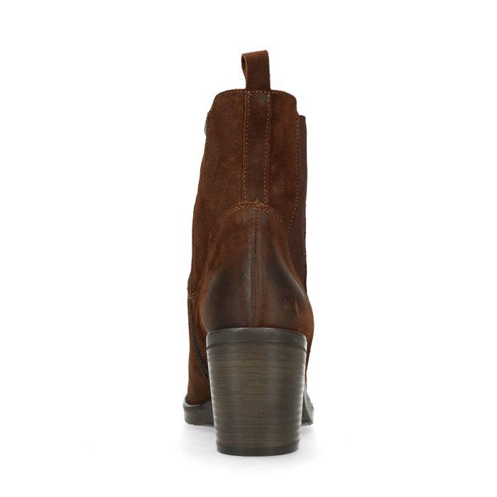 Bruine suède chelsea boots met hak