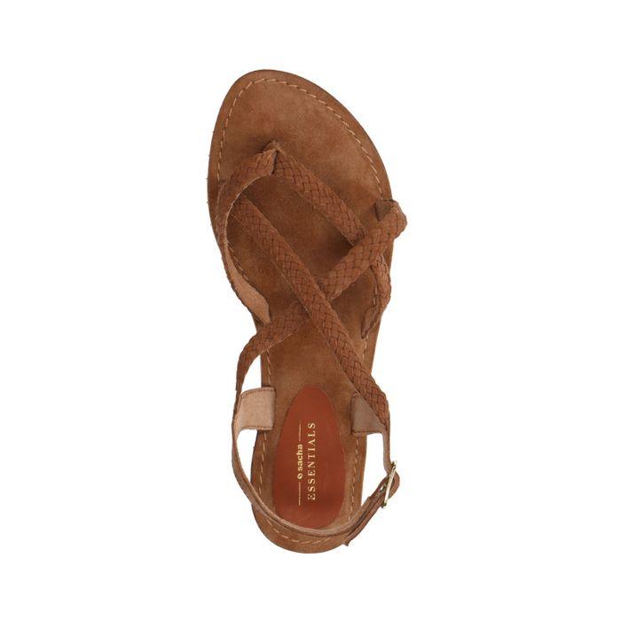 Cognac gevlochten sandalen