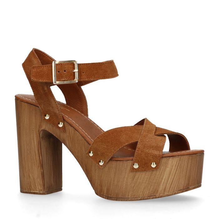 Bruine suéde sandalen met hak