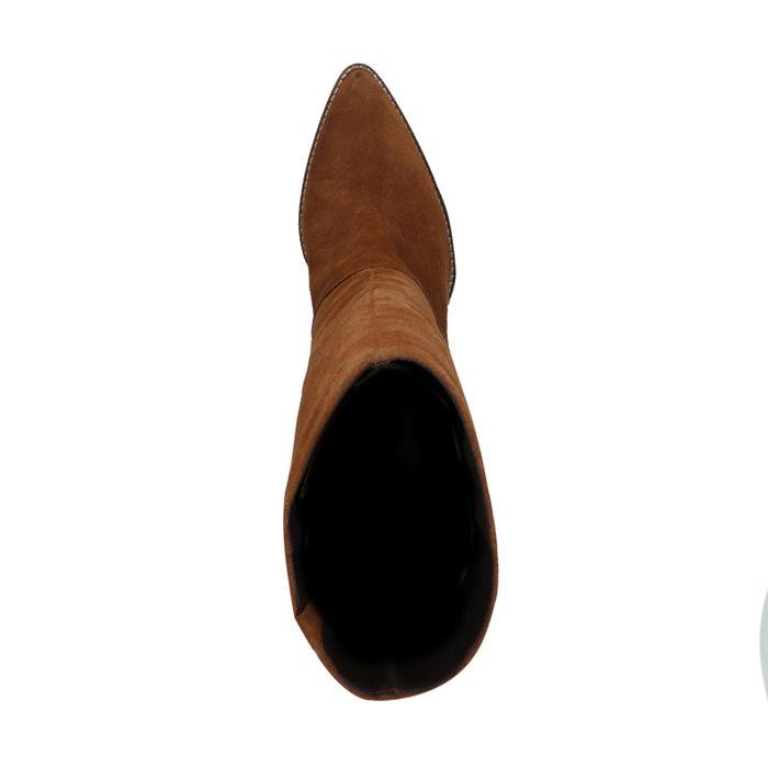 Cognac suède laarzen met hak