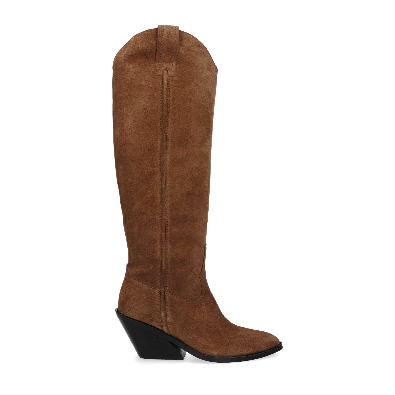 Cognac hoge cowboy laarzen Damesschoenen – SACHA