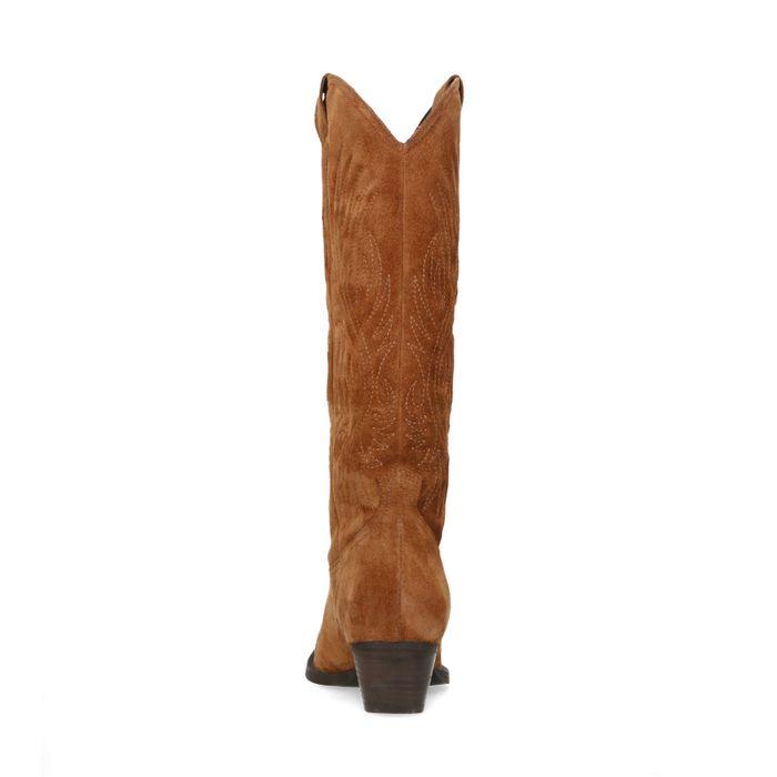 Cognac suède cowboy laarzen