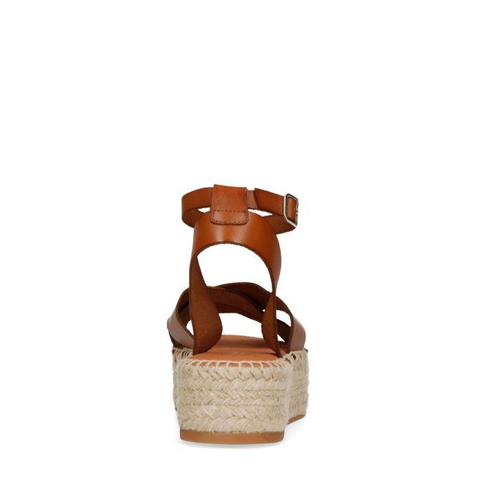 Cognac plateau sandalen