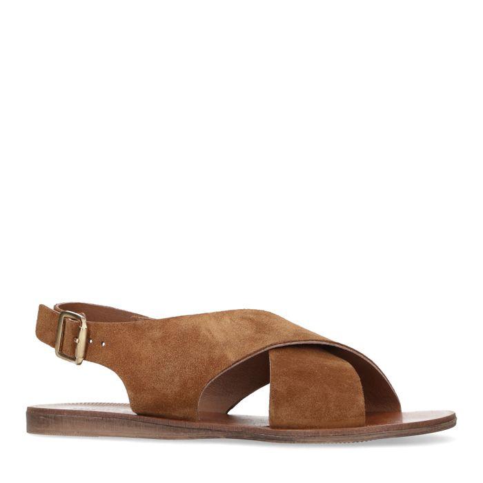 Cognac suède sandalen