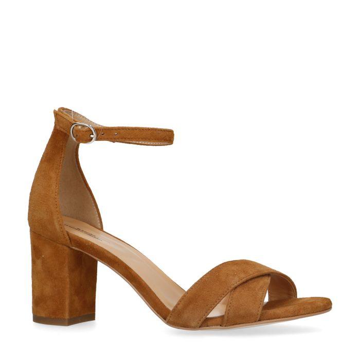 Cognac sandalen met hak