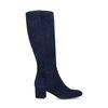 Hoge donkerblauwe laarzen van suède