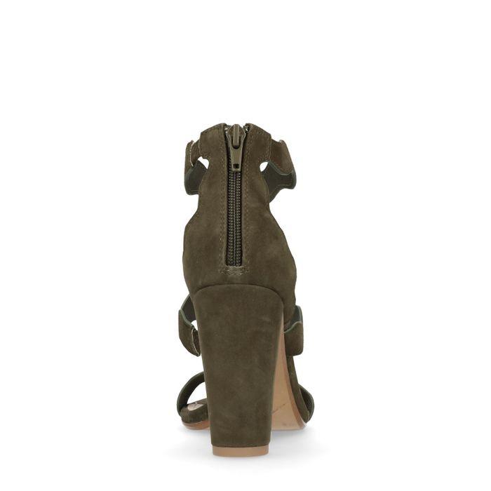 Donkergroene sandalen met blokhak