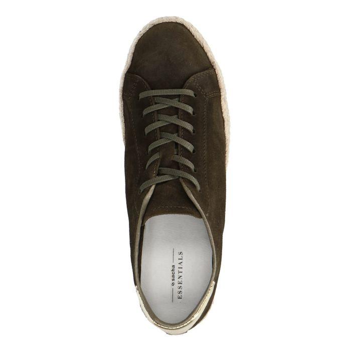 Donkergroene lage sneakers met touwzool
