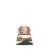 Donkergroene sneakers met witte platformzool