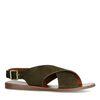 Donkergroene suède sandalen