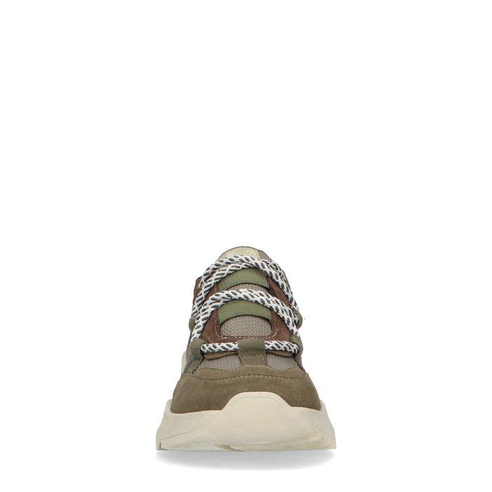 Khaki sneakers met witte zool