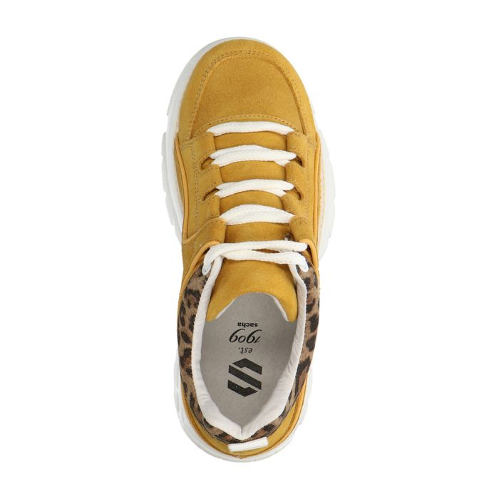 Okergele chunky sneakers met panterprint detail