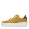 Gele platform sneakers met panterprint