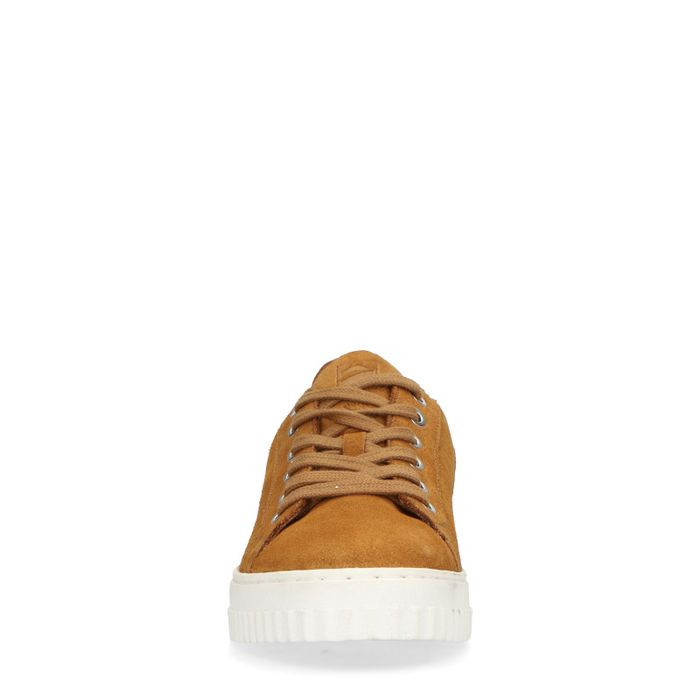 Okergele suède sneakers met animal print