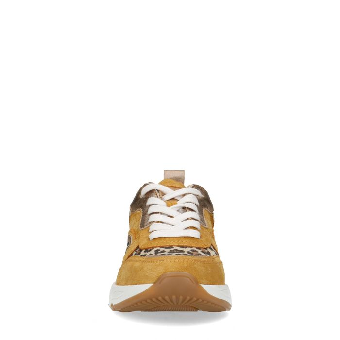 Okergele dad sneakers met panterprint