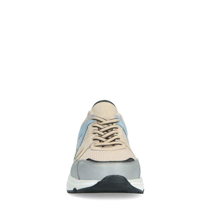 Beige sneakers met blauwe details
