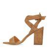 Lichtbruine sandalen met blokhak