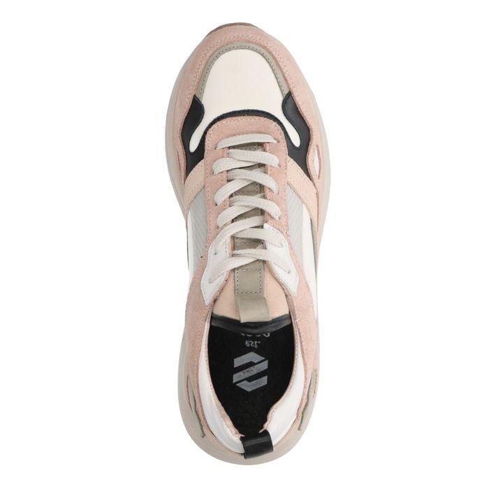 Lichtroze suède sneakers met zwarte details