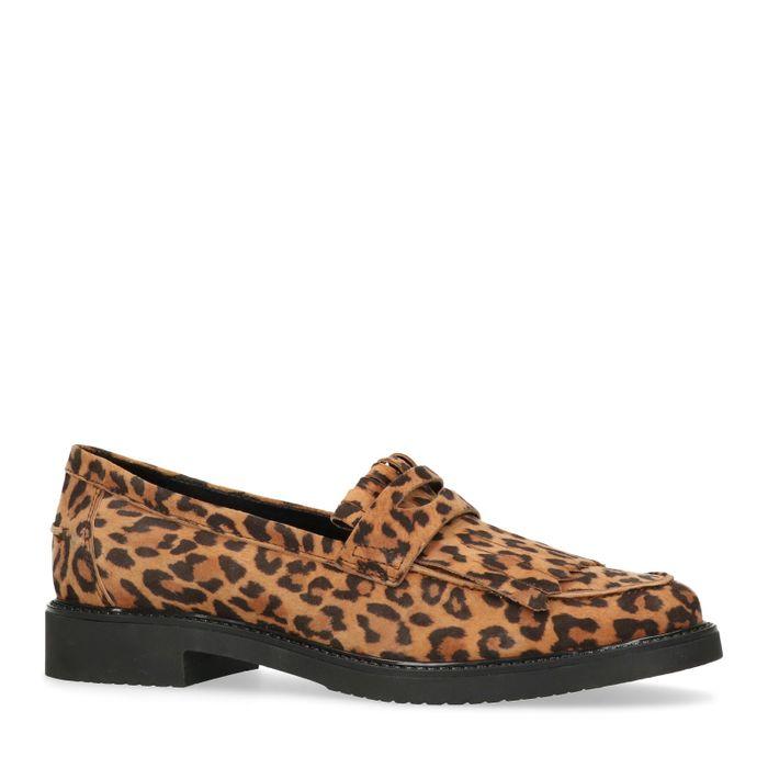 Bruine loafers met luipaard print
