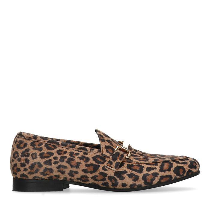 Suède panterprint loafers