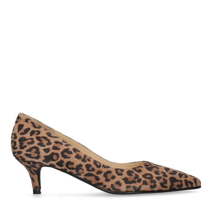 Panterprint pumps met kitten heel